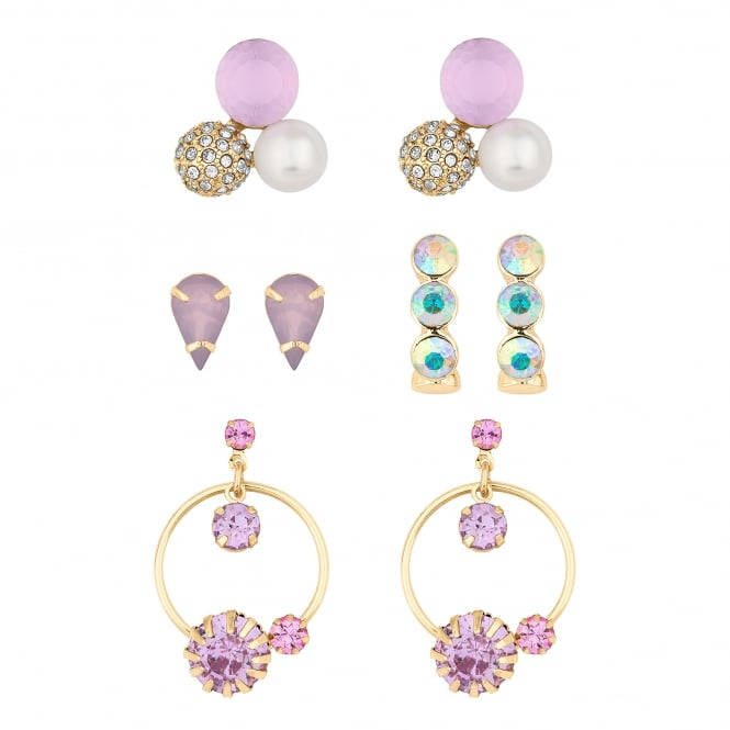 Gold And Pink Crystal Earring  - Pack of 4