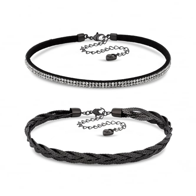 Lipsy Silver Black Woven Choker Necklace - Pack of 2