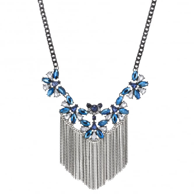 Silver Blue Crystal Fringed Statement Necklace