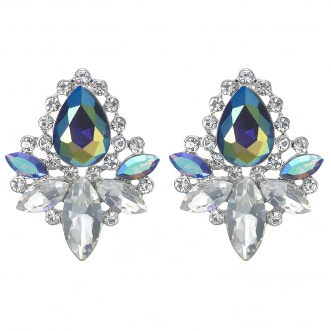 MOOD By Jon Richard Green Metallic Crystal Cluster Stud Earring