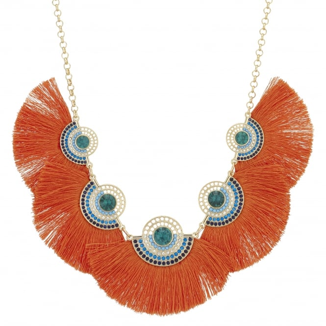 Orange Fringe Metallic Crystal Statement Necklace