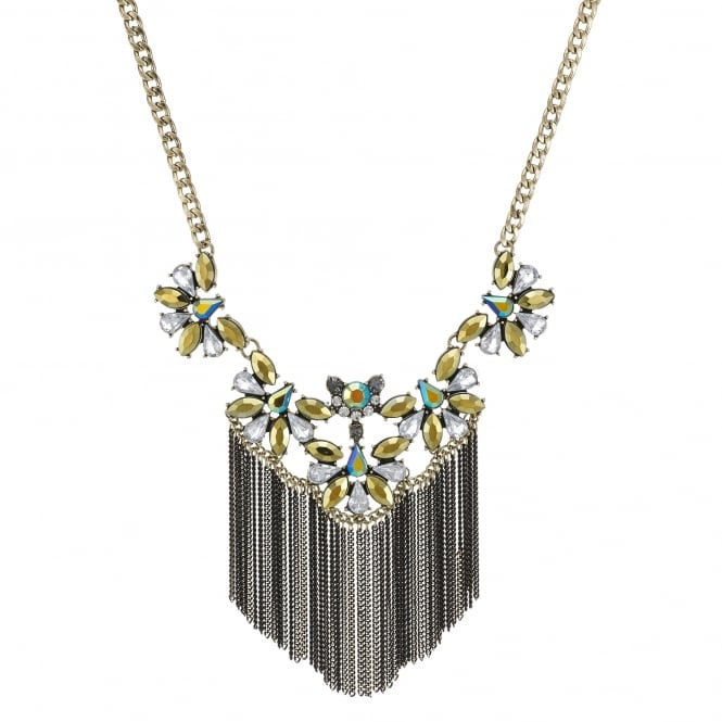 Gold Green Crystal Fringed Statement Necklace