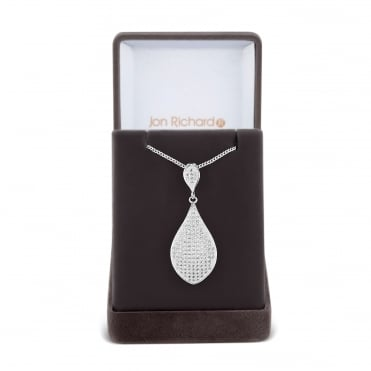Micro pave peardrop necklace