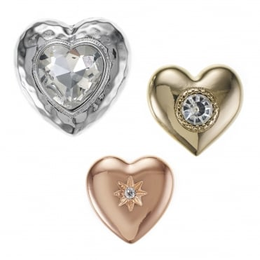 Mixed tone crystal heart brooch set