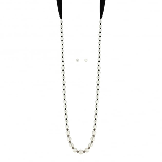 MOOD By Jon Richard Monochrome pearl ribbon jewellery set