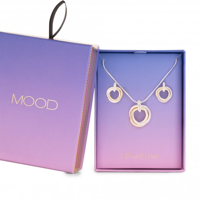 3 Tone Interlink Knot Necklace And Earring Set - Gift Boxed
