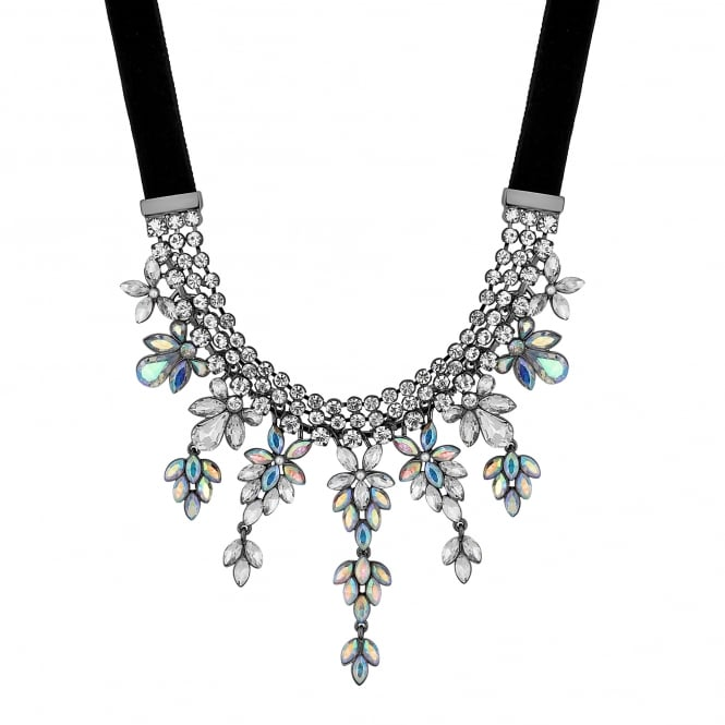Silver Aurora Borealis Crystal Statement Necklace
