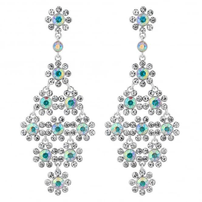 Silver Aurora Borealis Crystal Statement Earring