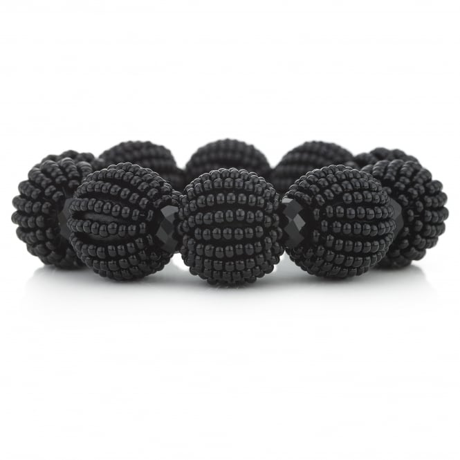 MOOD By Jon Richard Black Beaded Sphere Stretch Bracelet