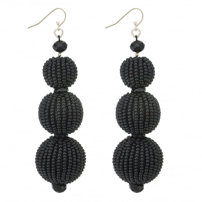 MOOD By Jon Richard Black Beaded Sphere Statement Earring