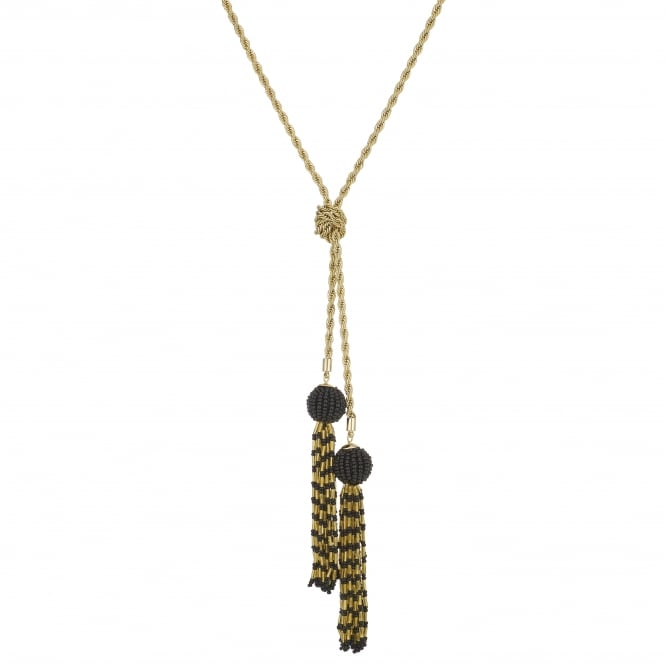 Black Beaded Gold Tassel Lariat Necklace