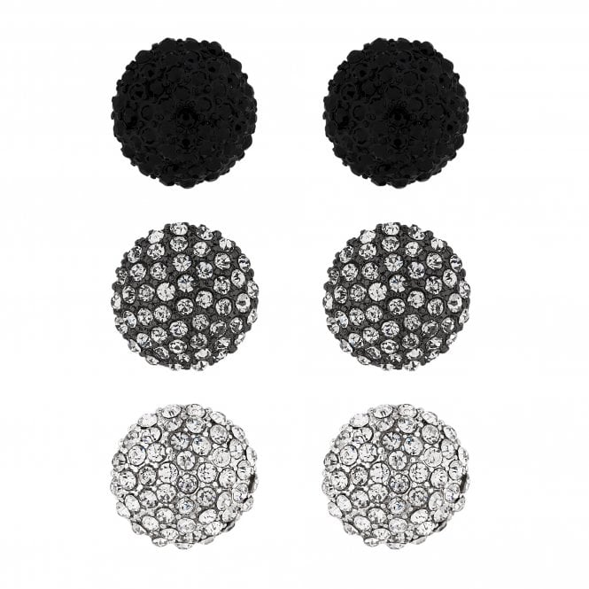 Black And Silver Crystal Dome Stud Earring Set