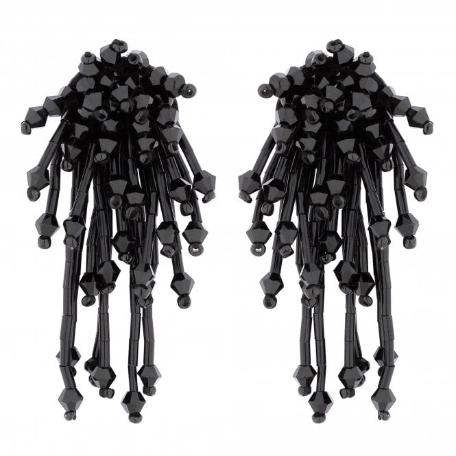 Black Beaded Statement Earring