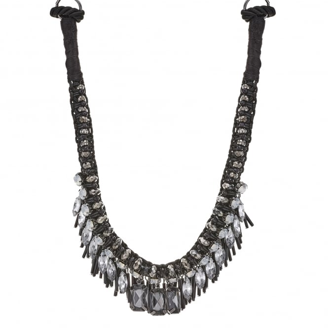 Black Beaded Charm Statement Necklace