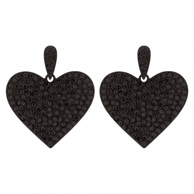 Black Crystal Embellished Oversized Heart Drop Earring