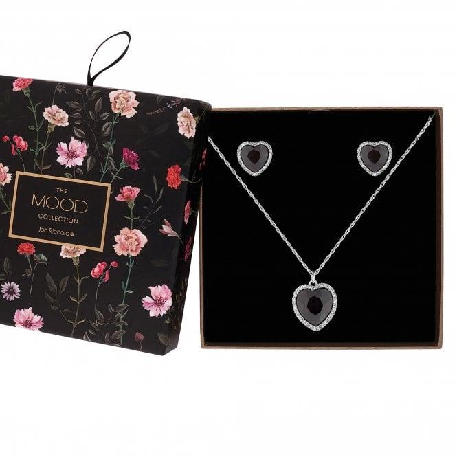 Black Crystal Heart Halo Jewellery Set