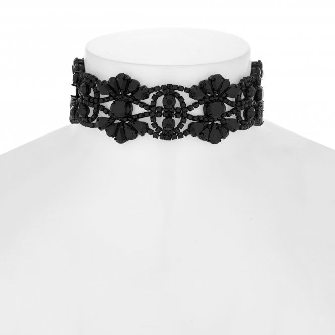Black Crystal Ornate Choker Necklace