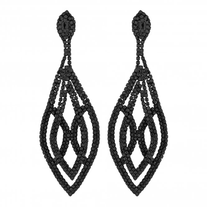 Black Crystal Oversized Statement Earring