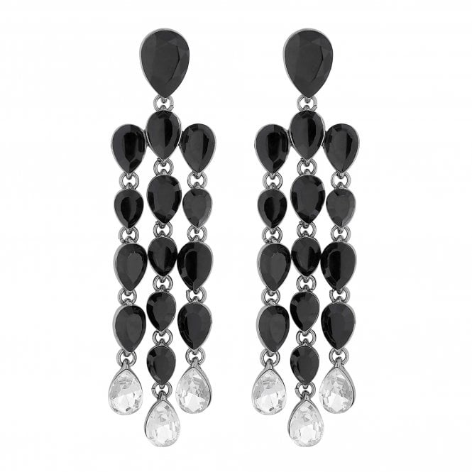 Black Crystal Peardrop Chandelier Drop Earring