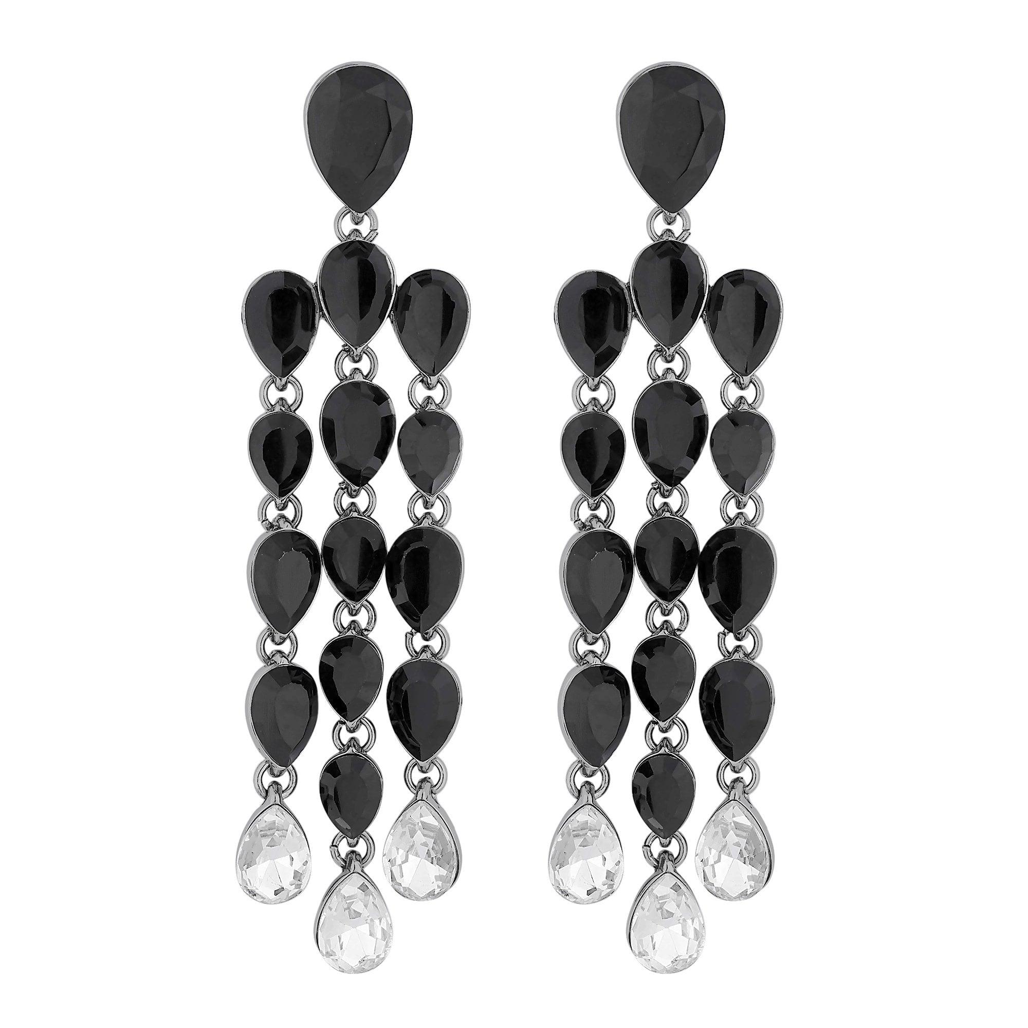 Black Crystal Peardrop Chandelier Drop Earring