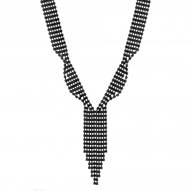 Black Diamante Crystal Lariat Necklace