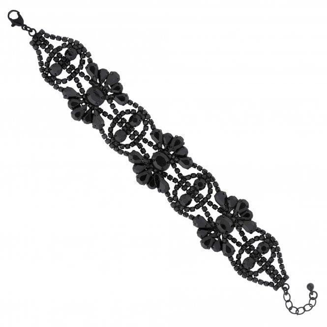 Black Diamante Flower Statement Bracelet