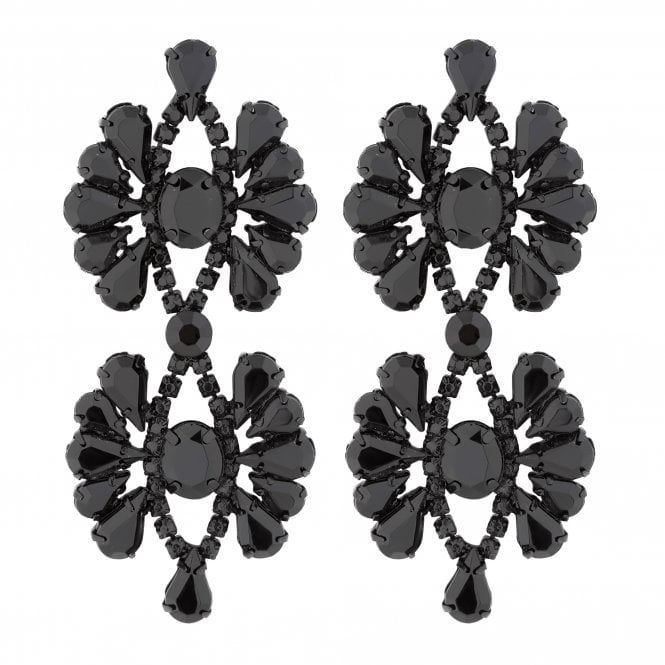 Black Diamante Flower Statement Earring