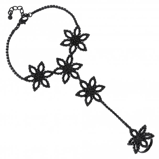 Black Diamante Flower Statement Hand Chain