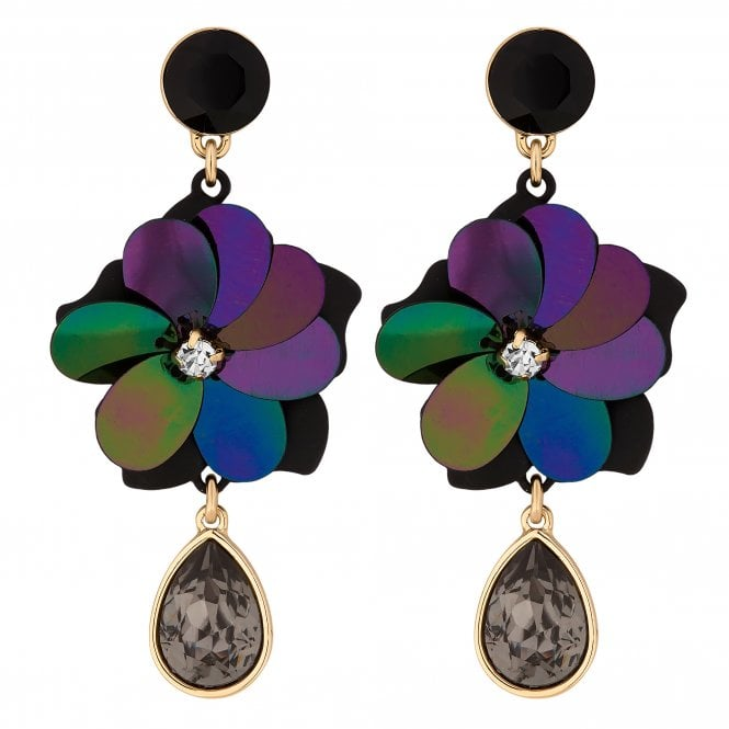 Black Sequin And Crystal Floral Drop Earring