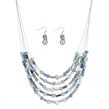 Blue beaded multi row necklace and earring set