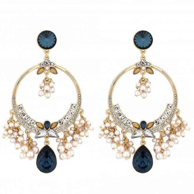 Blue Crystal And Pearl Statement Earring