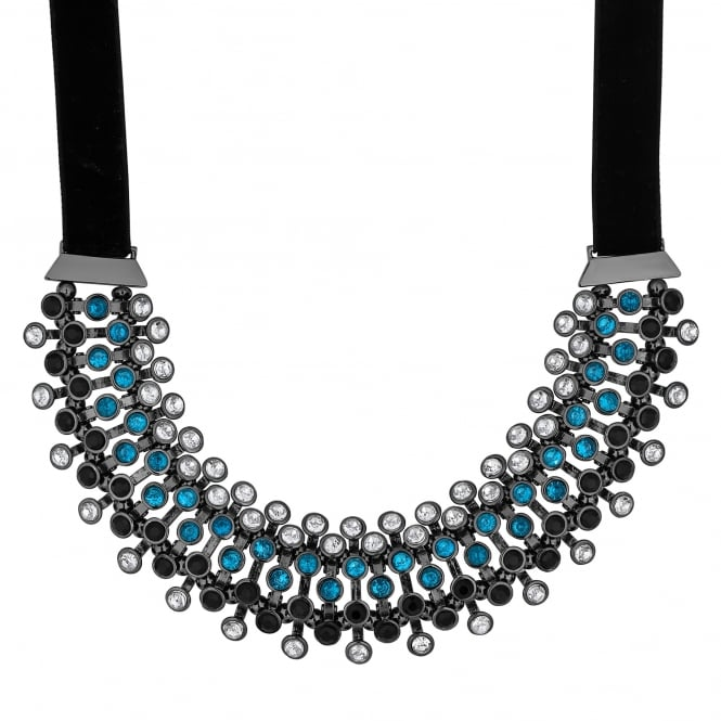 Blue crystal row collar necklace