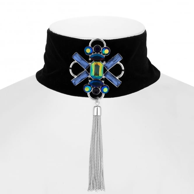 Green / Blue Crystal Tassel Choker Necklace