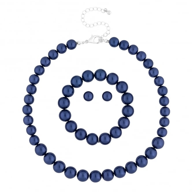 Blue pearl jewellery set