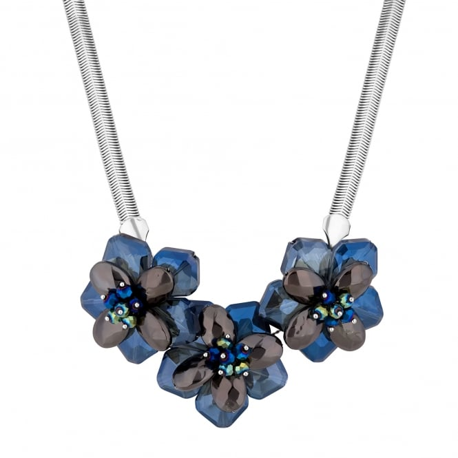 Blue statement floral necklace