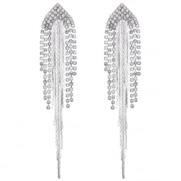 Chain and diamante drop earring