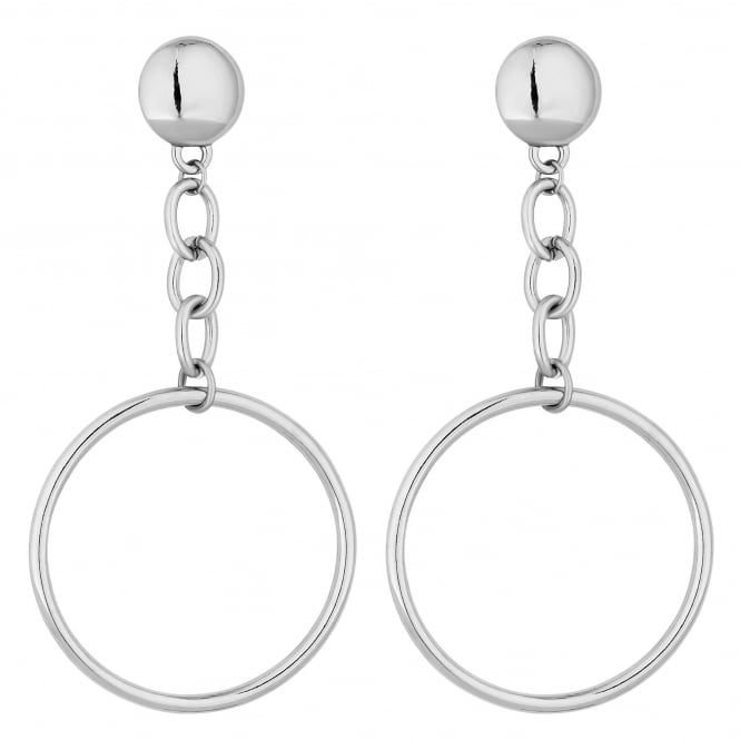 Silver Chain Drop Hoop Earring
