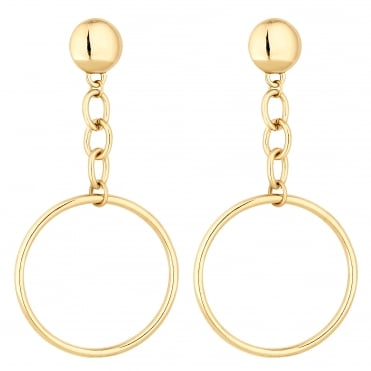 Chain drop hoop earring