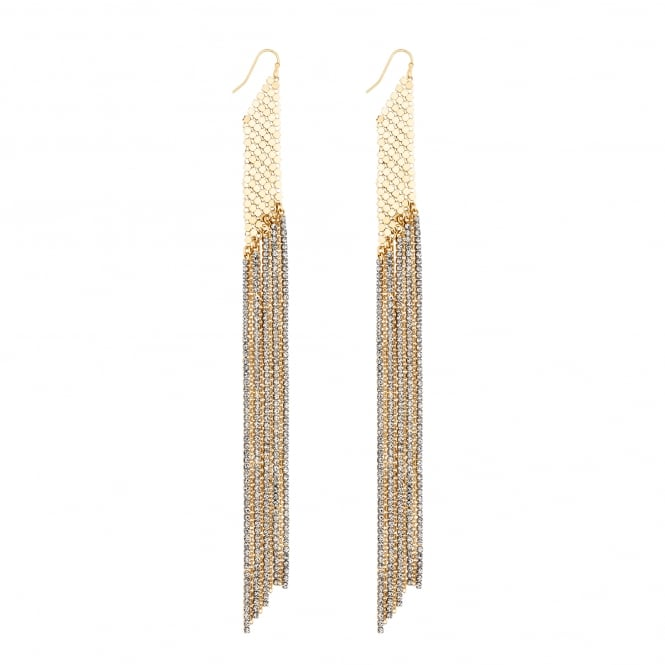 Gold Chain mail Drop Statement Earring