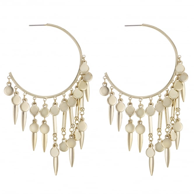 Gold Charm Fringed Hoop Earring