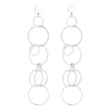 Silver Circle Link Drop Earring