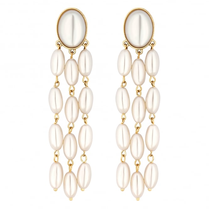 Cream Oval Pearl Drop Earring