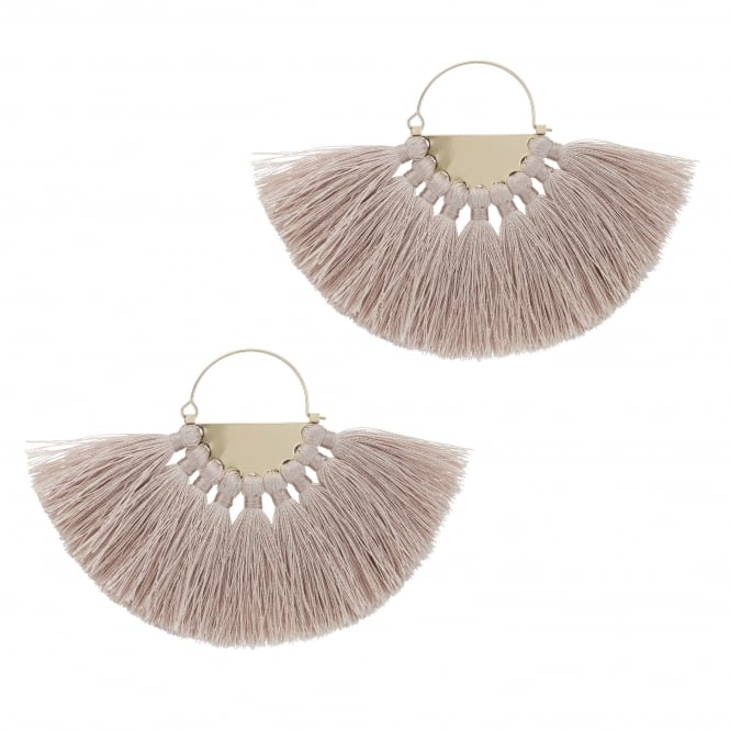 Cream Oversized Fringed Hoop Earring