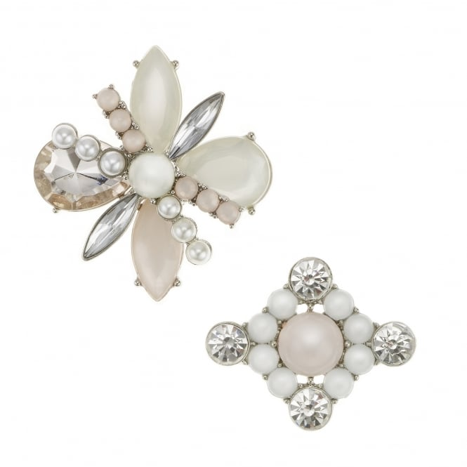 Crystal and pearl brooch pack