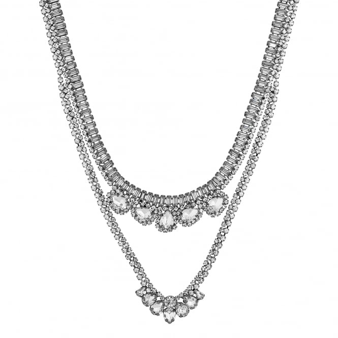 Silver Crystal Multi Row Necklace