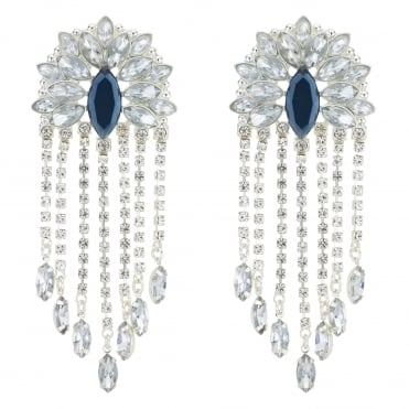 Blue Crystal Fan Statement Earring