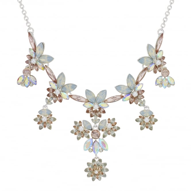 Pink Crystal Floral Cluster Statement Necklace