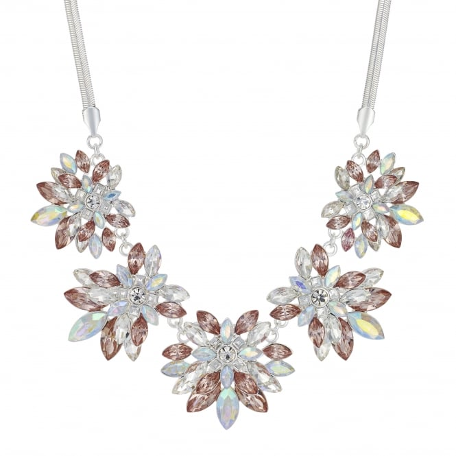 MOOD By Jon Richard Silver Pink Crystal Floral Statement Necklace