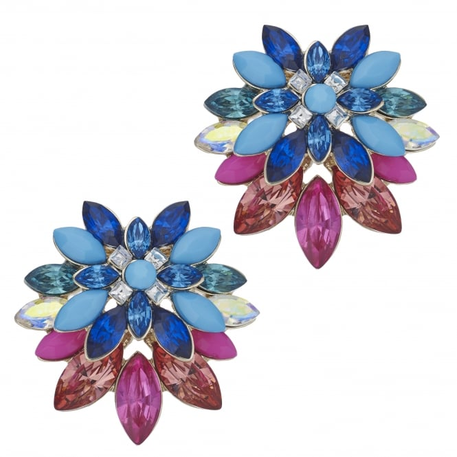 MOOD By Jon Richard Pink And Blue Crystal Floral Stud Earring