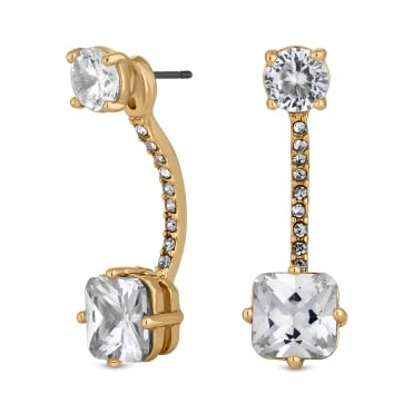 Crystal front and back drop earring